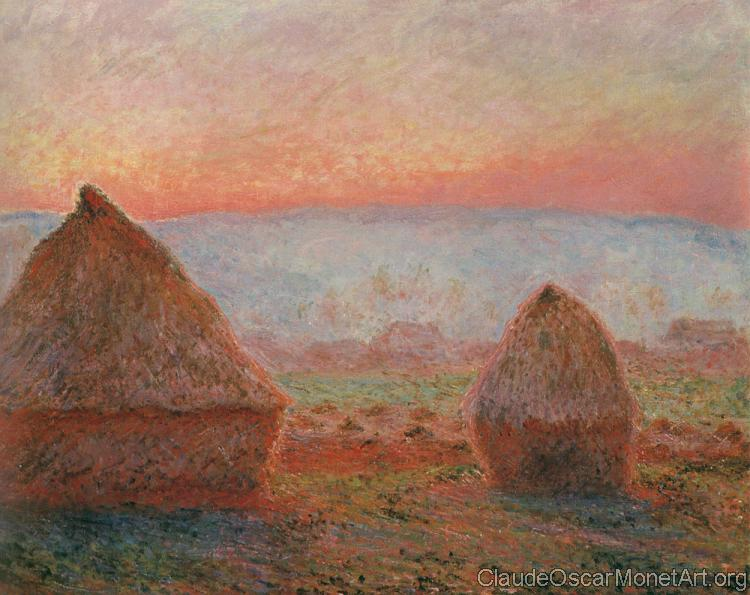 Les Meules a Giverny, soleil couchant, Translated title: Haystacks at Giverny, the evening sun