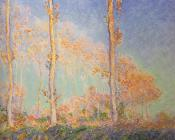 Les Peupliers, trois arbres roses, automne, Translated title: Poplars