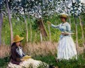 In The Woods At Giverny, BlancheHoschede Monet At Her Easel With Suzanne Hoschede Reading